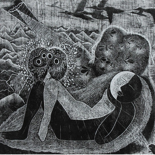 Harmony by Vijay Pichumani, Expressionism Printmaking, Ink on Paper, Gray color