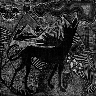The Guard by Vijay Pichumani, Illustration Printmaking, Ink on Paper, Gray color