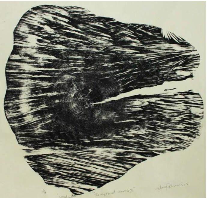 The Mystical Waves by Vijay Pichumani, Abstract Printmaking, Ink on Paper, Gray color