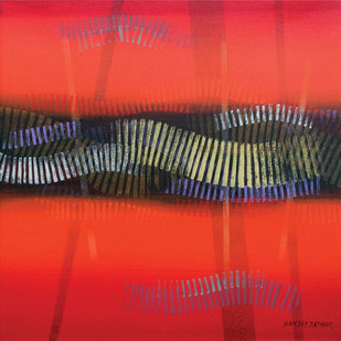 Untitled by Jathar Sanjay Ramchandra, Geometrical Painting, Acrylic on Canvas, Red color