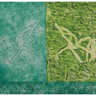 Form 55 by V Saravana Raghavan, Abstract Painting, Mixed Media on Paper, Green color