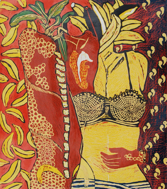 Couple by S Karuna, Expressionism Printmaking, Wood Cut on Paper, Brown color