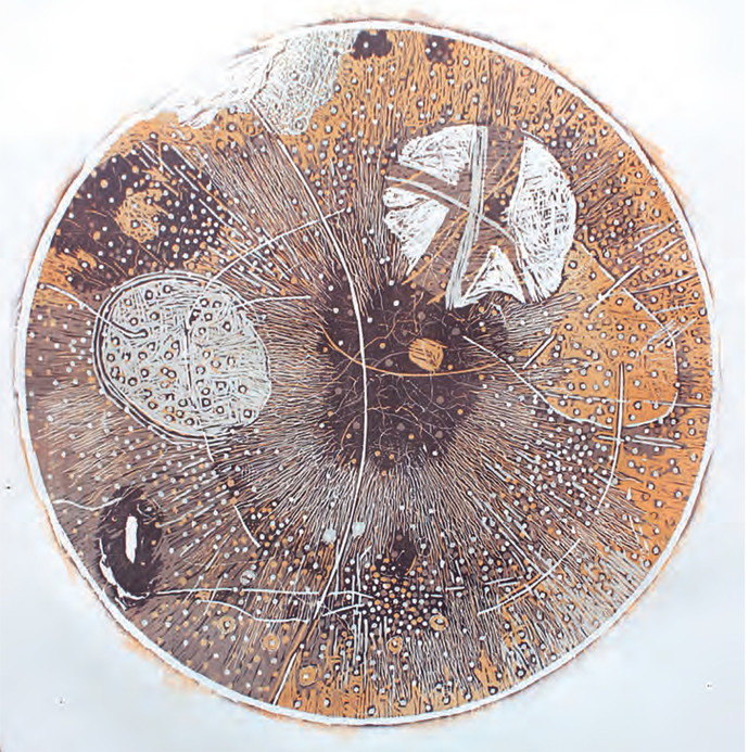 Untitled by Murali Chinnasamy, Abstract Printmaking, Wood Cut on Paper, Brown color