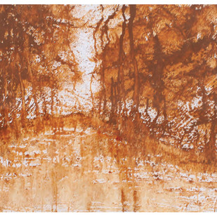 Landscape by Kekhrie Neikha, Abstract Painting, Mixed Media on Paper, Brown color