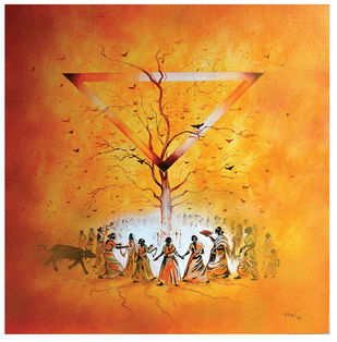 Untitled by Ravikumar, Expressionism Painting, Acrylic on Canvas, Orange color