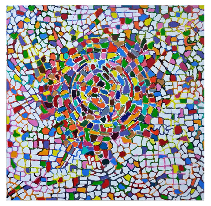 Abstraction in Kaleidoscope by Pooja S.I, Cubism Painting, Acrylic on Canvas, Brown color