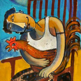 Cock Fighter by Saravanan P, Expressionism Painting, Acrylic on Paper, Brown color
