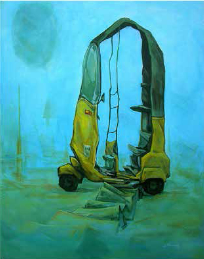 Auto by D Tiroumale, Expressionism Painting, Acrylic on Canvas, Cyan color