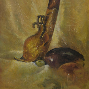 Tibetan Horn I by nadees prabou, Art Deco Painting, Oil on Canvas Board, Brown color