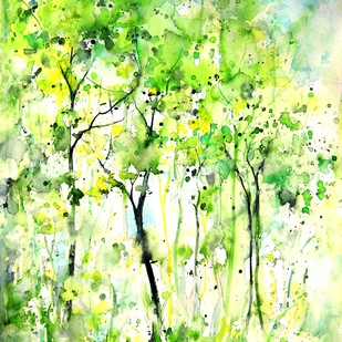 Forest Series by Spoorthy Murali, Abstract Painting, Watercolor on Paper, Green color