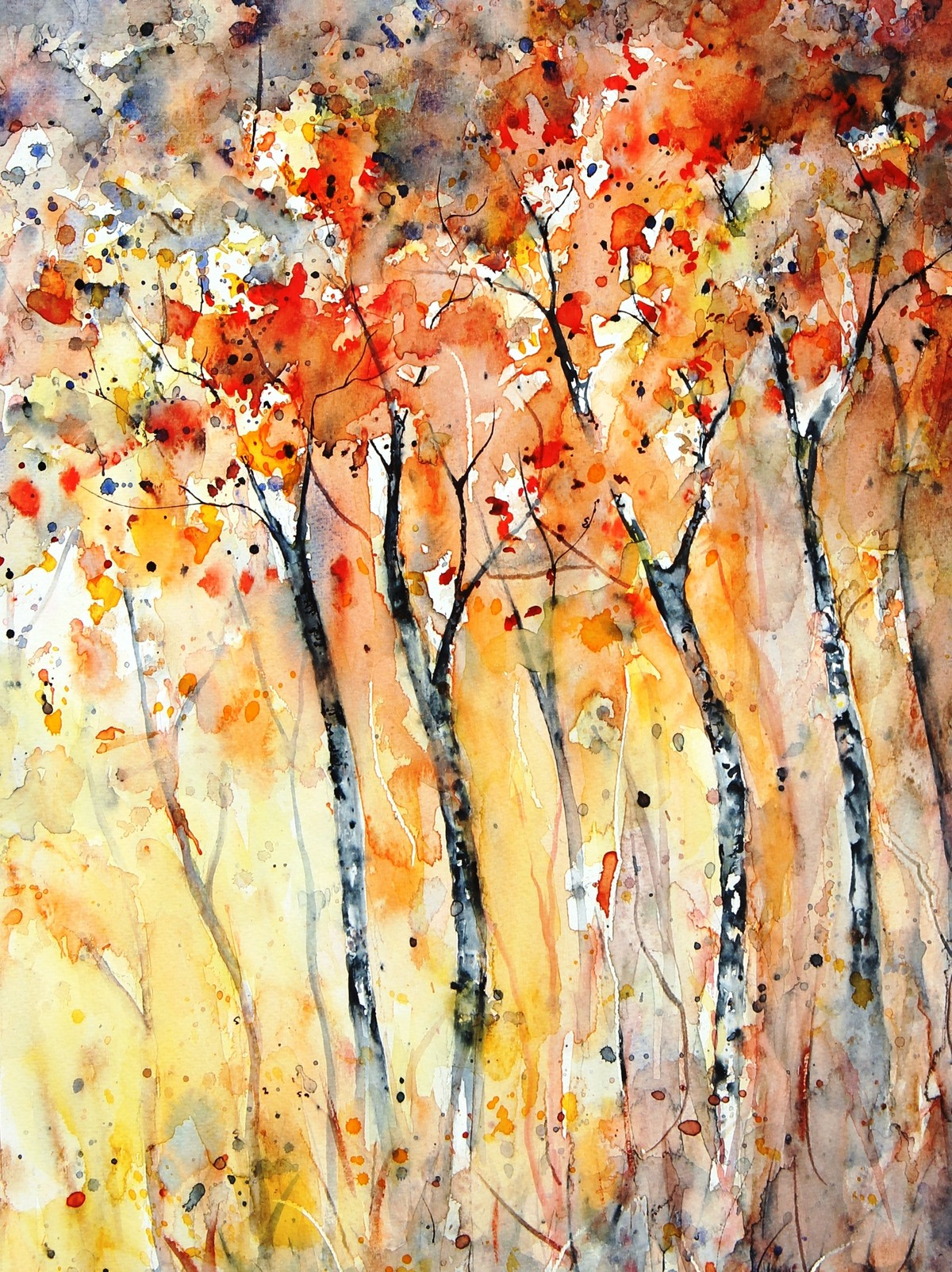 Forest Series by Spoorthy Murali, Abstract Painting, Watercolor on Paper, Beige color
