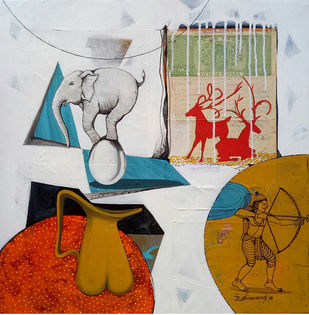 Still Life by Shivanand Basavanthappa, Expressionism Painting, Acrylic on Canvas, Gray color