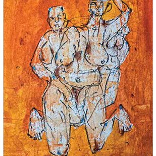 Untitled by Rajib Mitra, Expressionism Painting, Mixed Media on Paper, Brown color
