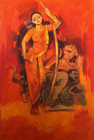 Mahishasur Mardini by Arundhati Dhumale, Expressionism Painting, Acrylic on Canvas, Red color