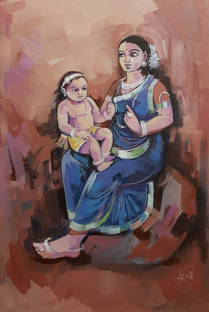 Skandmata by Arundhati Dhumale, Expressionism Painting, Acrylic on Canvas, Brown color