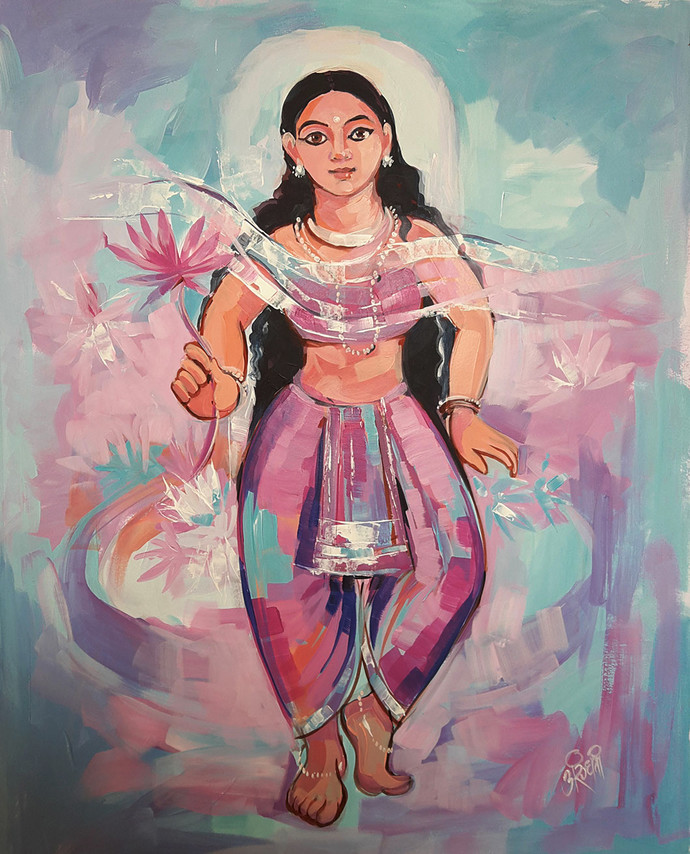 Mahagauri by Arundhati Dhumale, Expressionism Painting, Acrylic on Paper, Brown color