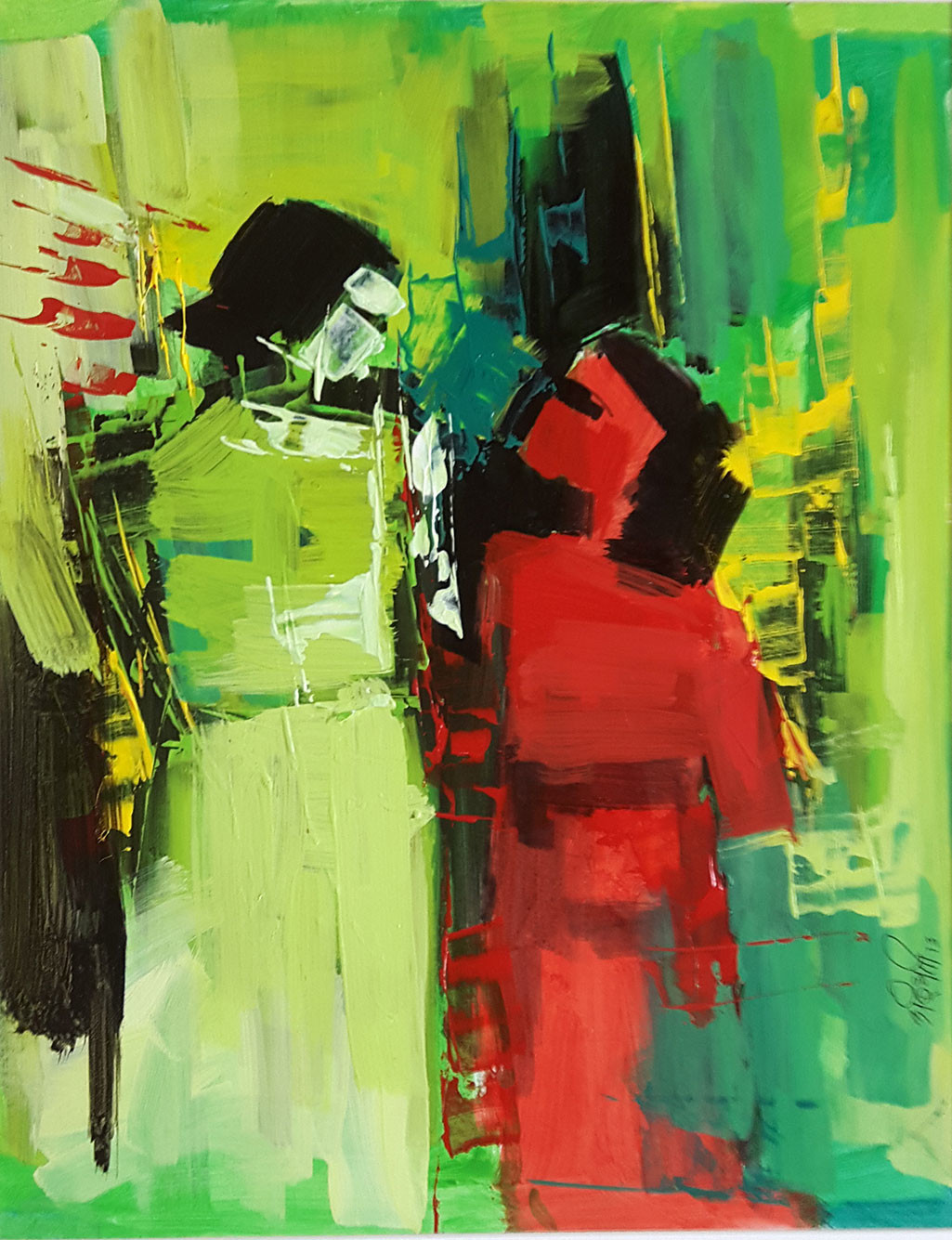 You & Me by Arundhati Dhumale, Abstract Painting, Acrylic on Paper, Green color