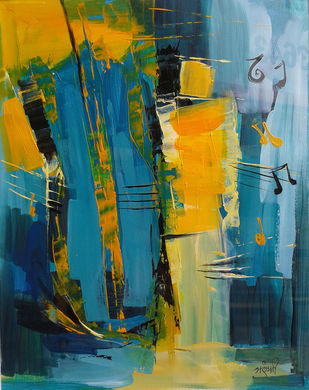 Violin by Arundhati Dhumale, Abstract Painting, Acrylic on Paper, Green color