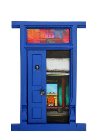Door 16 by K R Santhanakrishnan, Art Deco Painting, Mixed Media on Wood, Blue color