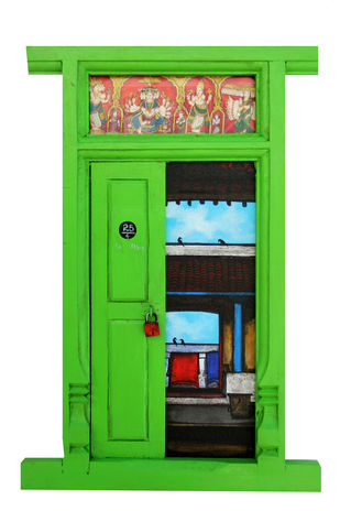 Door 17 by K R Santhanakrishnan, Art Deco Painting, Mixed Media on Wood, Green color