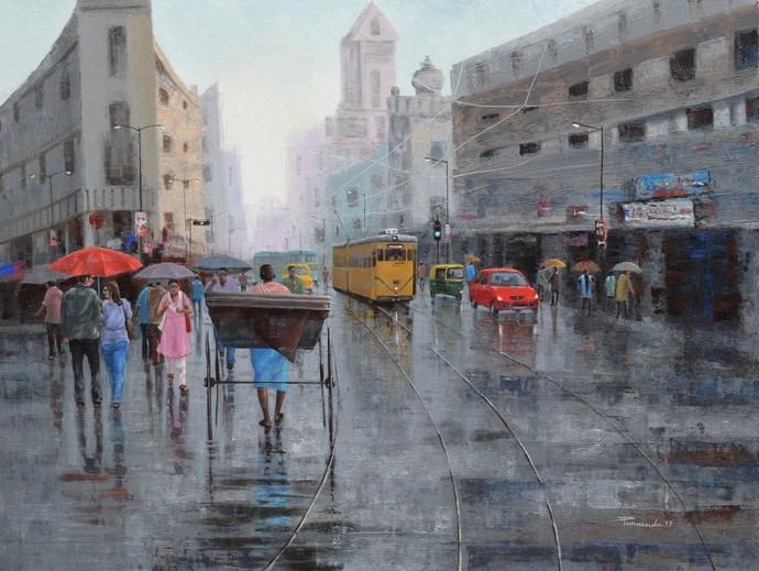 Rickshaw Puller In Kolkata By Artist Purnendu Mandal