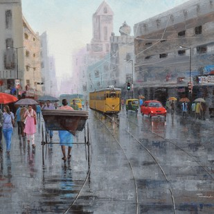 Rickshaw Puller in Kolkata by Purnendu Mandal, Impressionism Painting, Acrylic on Canvas, Gray color