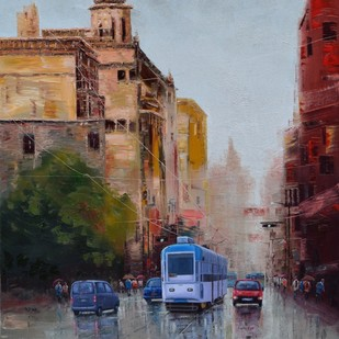 After Rain in Kolkata by Purnendu Mandal, Impressionism Painting, Oil on Canvas, Brown color