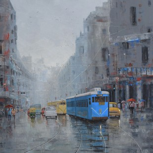 Rainy Day in Kolkata by Purnendu Mandal, Impressionism Painting, Acrylic on Canvas, Green color