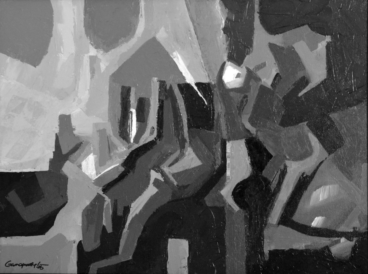 Composition 52 by Ganapathy Subramaniam, Abstract Painting, Acrylic on Canvas, Gray color