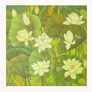 LOTUS SERIES by Roy K John, Art Deco Painting, Acrylic on Canvas, Beige color