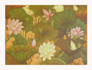 LOTUS SERIES by Roy K John, Traditional Painting, Acrylic on Canvas, Beige color