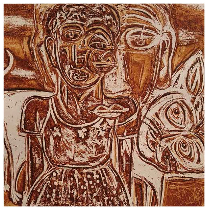 Arrival by Tejswini Narayan Sonawane, Expressionism Printmaking, Etching on Paper, Brown color