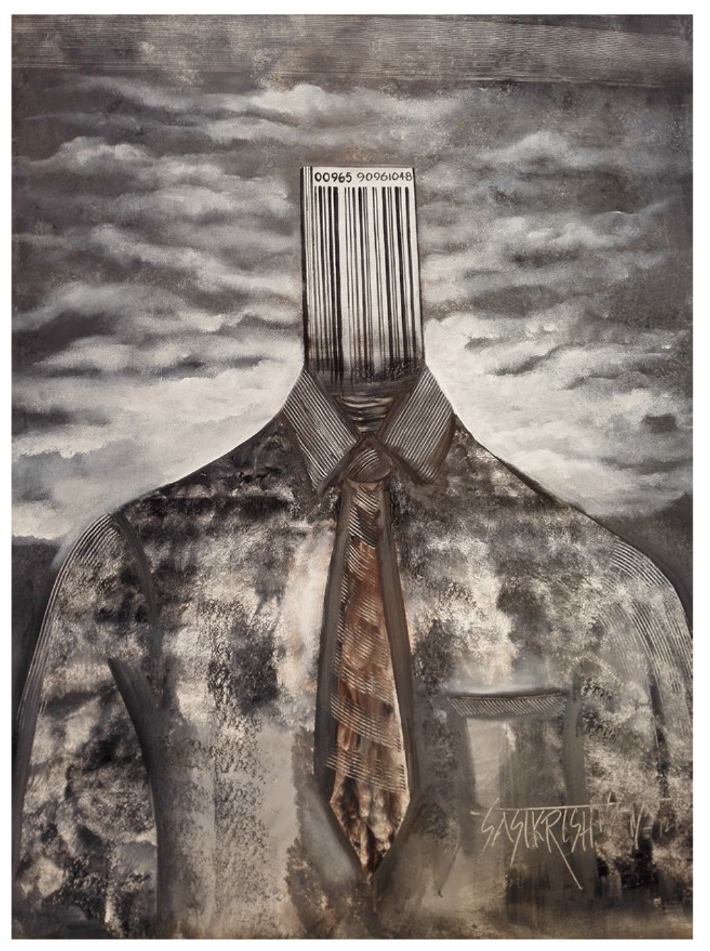Barcode Man by Sasi Krishnan, Expressionism Painting, Acrylic on Canvas, Brown color