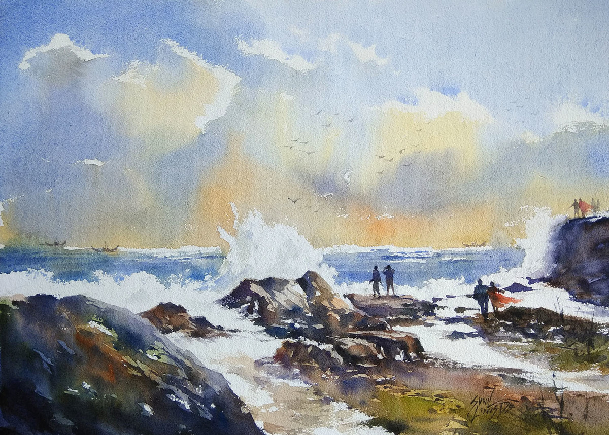 seashore by Sunil Linus De, Impressionism Painting, Watercolor on Paper, Gray color