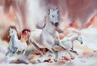 '' Born To Win '' by GN Madhu, Impressionism Painting, Watercolor on Paper, Gray color