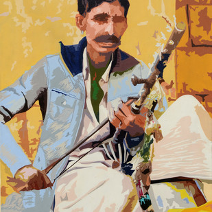 Gajiram by raj kumar sharma, Expressionism Painting, Acrylic on Canvas, Beige color