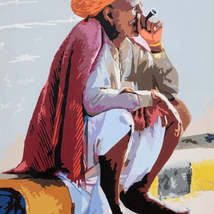 Sukoon by raj kumar sharma, Expressionism Painting, Acrylic on Canvas, Brown color