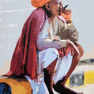 Sukoon by raj kumar sharma, Expressionism Painting, Acrylic on Canvas, Brown color