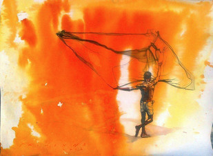 FisherMan Digital Print by Sreenivasa Ram Makineedi,Expressionism