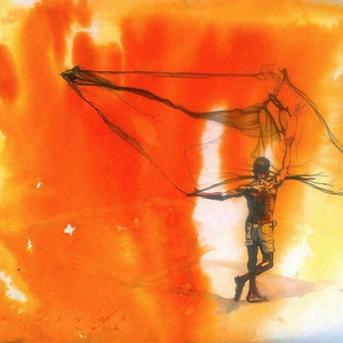 FisherMan by Sreenivasa Ram Makineedi, Expressionism Painting, Watercolor on Paper, Orange color