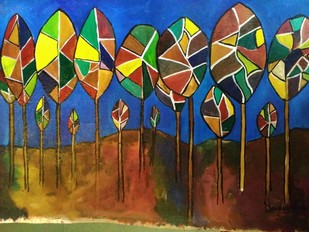 Dream Garden by Deepak Patil, Abstract Painting, Acrylic on Canvas, Brown color