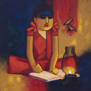 Literacy by Dipak Asole, Expressionism Painting, Acrylic on Canvas, Brown color