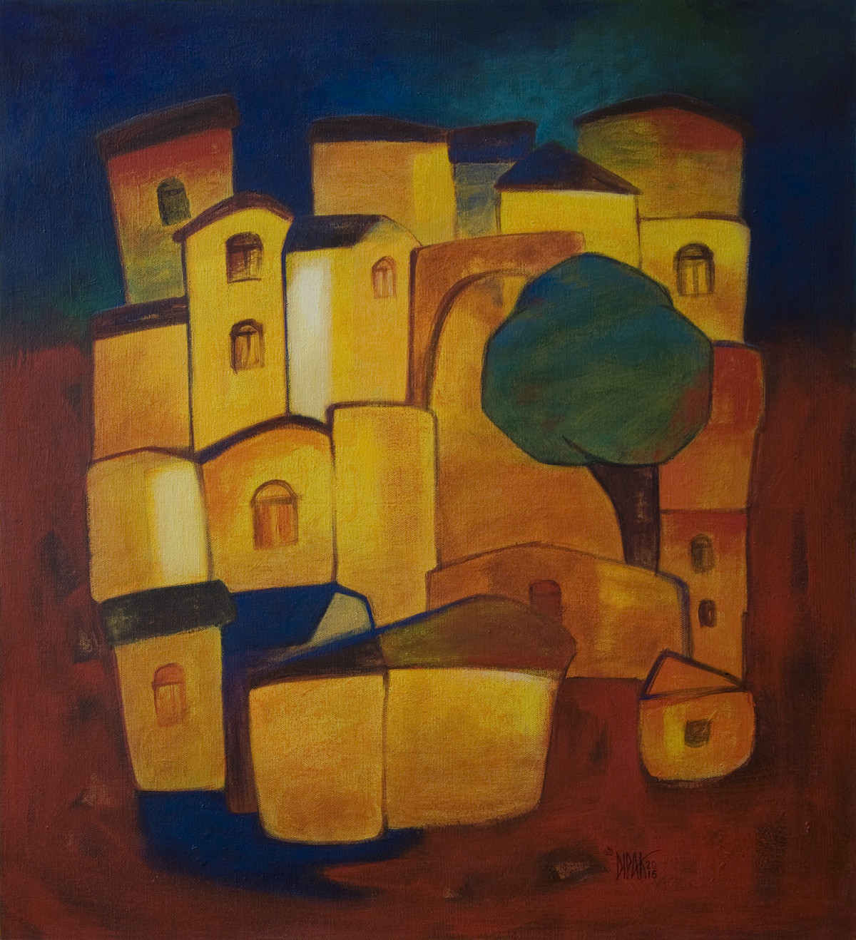 Village by Dipak Asole, Geometrical Painting, Acrylic on Canvas, Brown color
