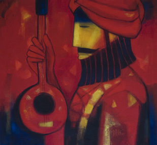 Euphony by Dipak Asole, Expressionism Painting, Acrylic on Canvas, Brown color