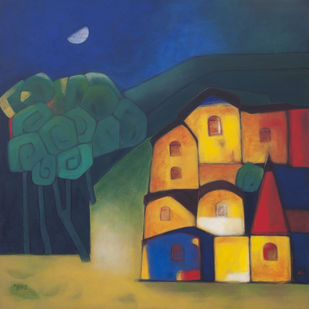 Healthy Village by Dipak Asole, Geometrical Painting, Acrylic on Canvas, Blue color