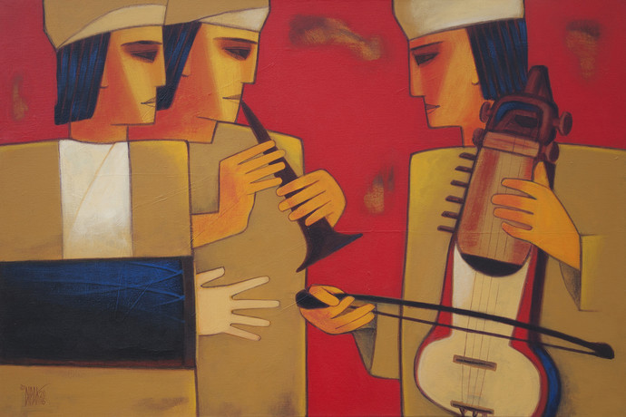 Musication by Dipak Asole, Expressionism Painting, Acrylic on Canvas, Brown color
