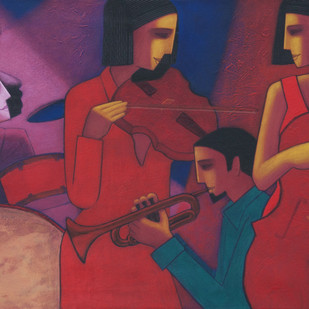 Musication by Dipak Asole, Expressionism Painting, Acrylic on Canvas, Blue color
