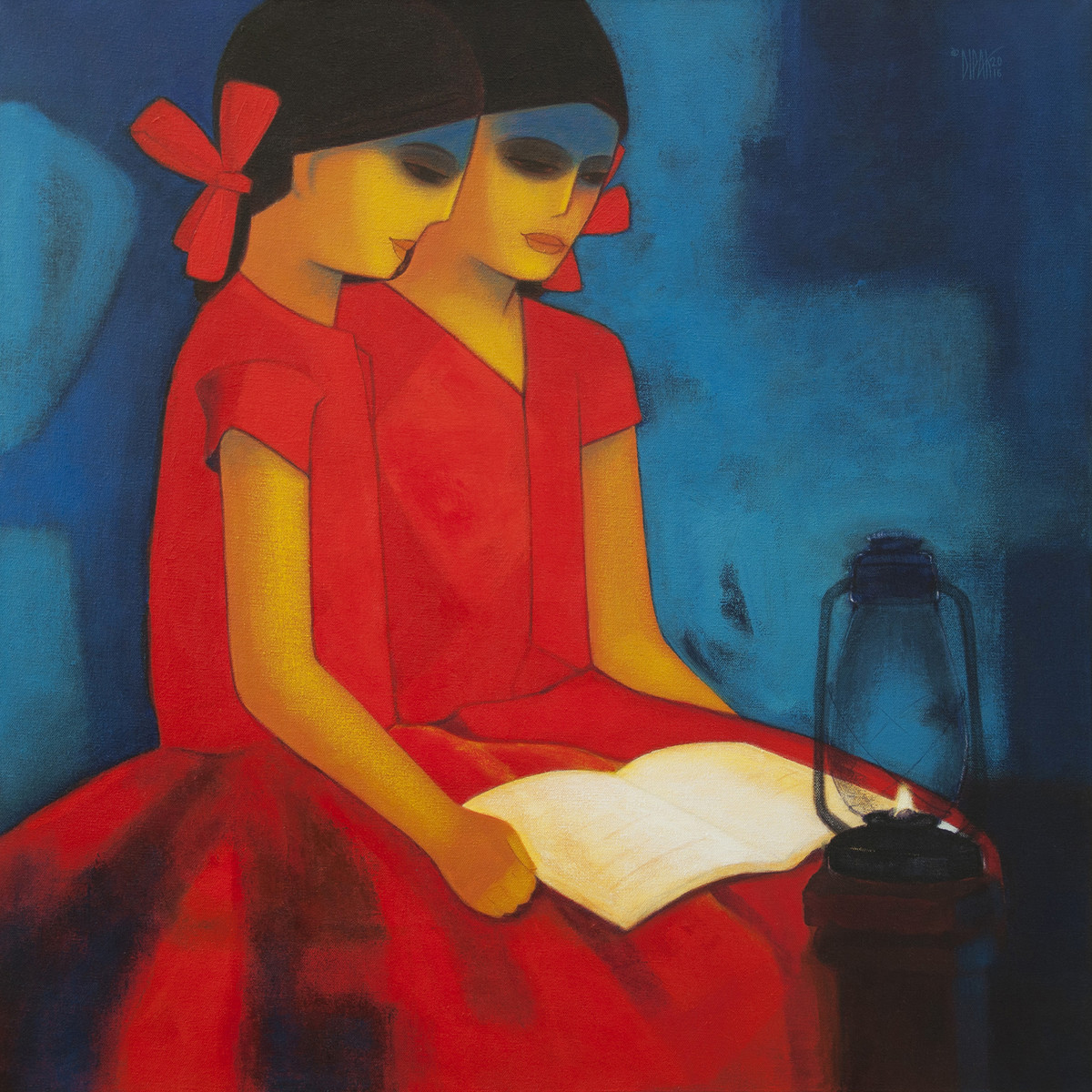 Literacy by Dipak Asole, Expressionism Painting, Acrylic on Canvas, Blue color