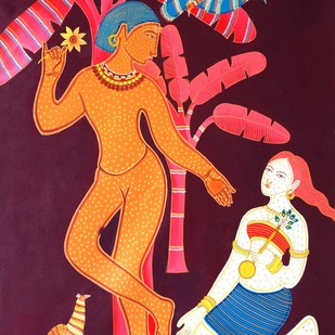 pandvani by Nitai Das, Expressionism Painting, Acrylic on Canvas, Brown color