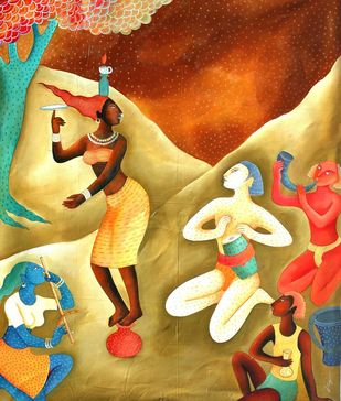 trivel dance by Nitai Das, Expressionism Painting, Acrylic on Canvas, Beige color